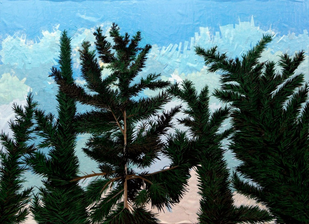 Cypresses Tops- 2011 - Maskingtape on Canvas - 140cm X 100cm