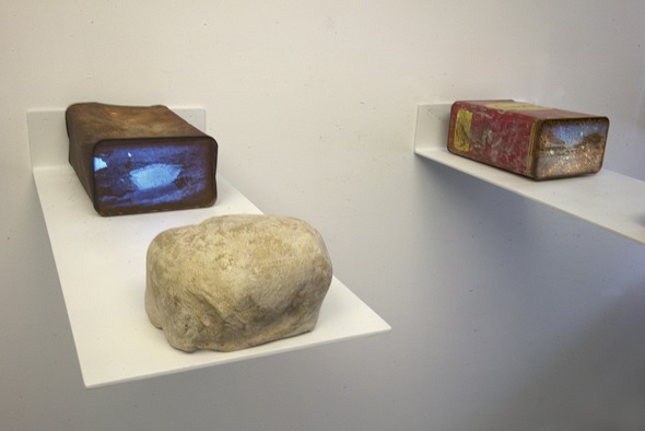 Dana Levy, Pipelines and Sinkholes, 2019 Single channel videos projected from pico projectors concealed by fake rocks, 04:00 min