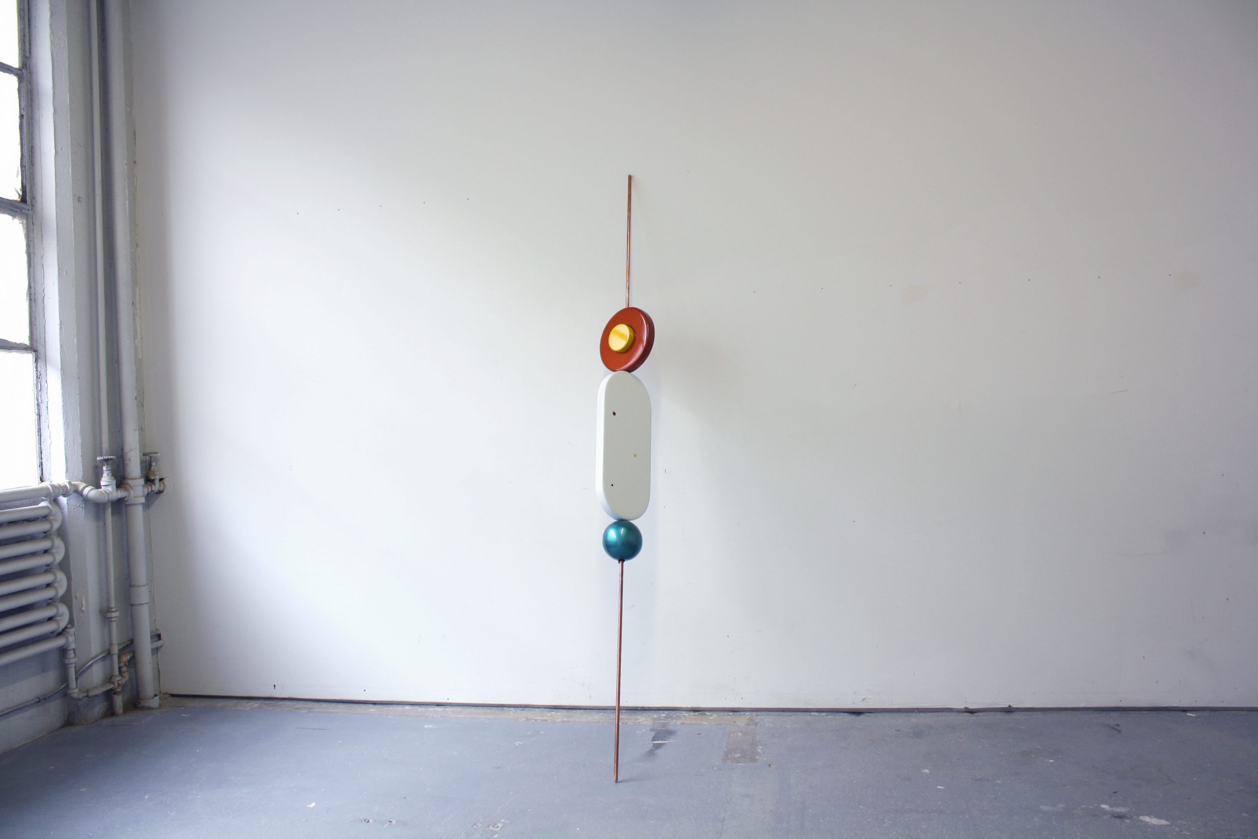 Reuven Israel, SBM1 (Stand By Me 1), 2012, Copper coated steel rod MDF and paints, 244 x 28 x 28 cm