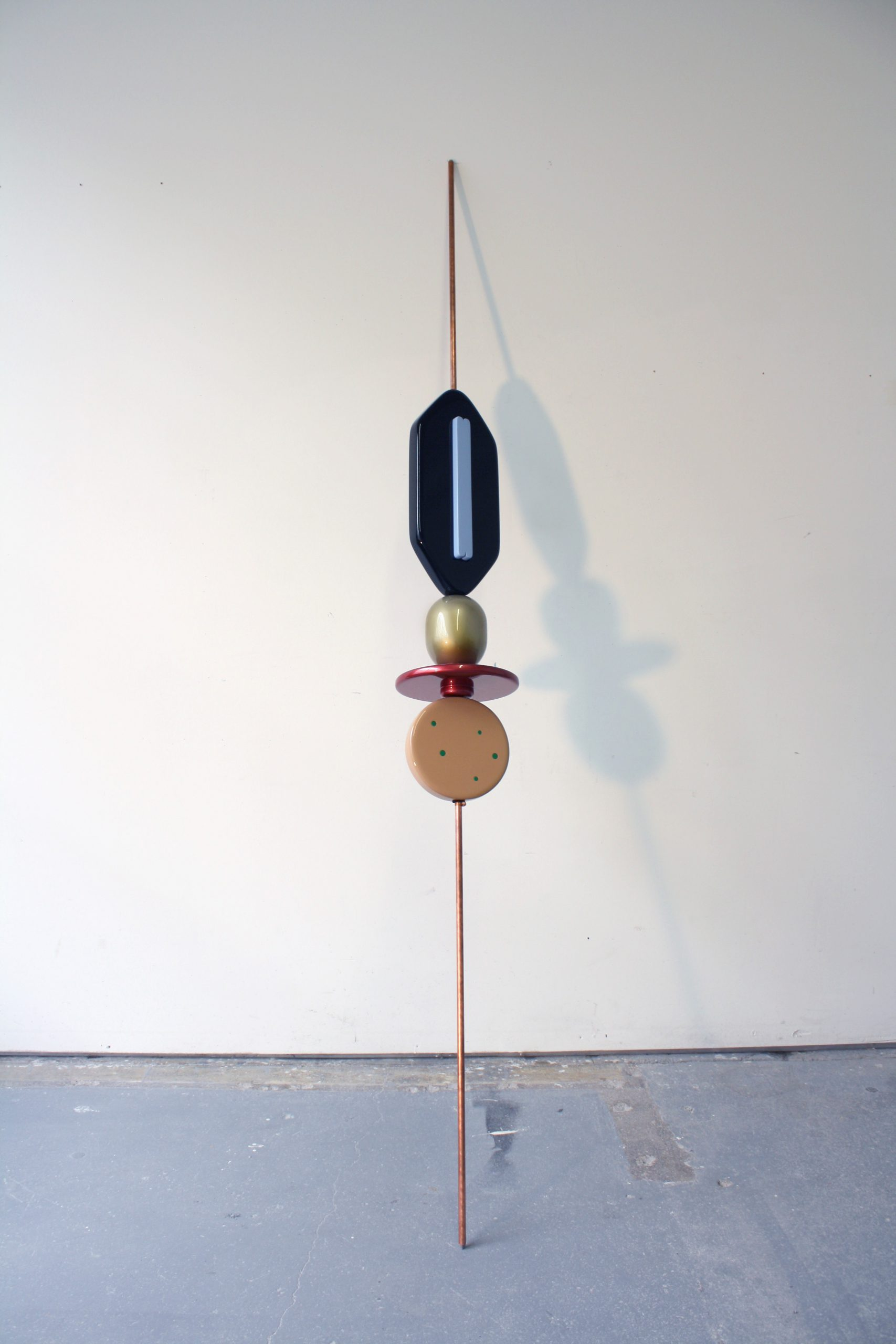 Reuven Israel, SBM3 (Stand By Me 3), 2012, Copper coated steel rod MDF and paints, 244 x 26.5 x 26.5 cm