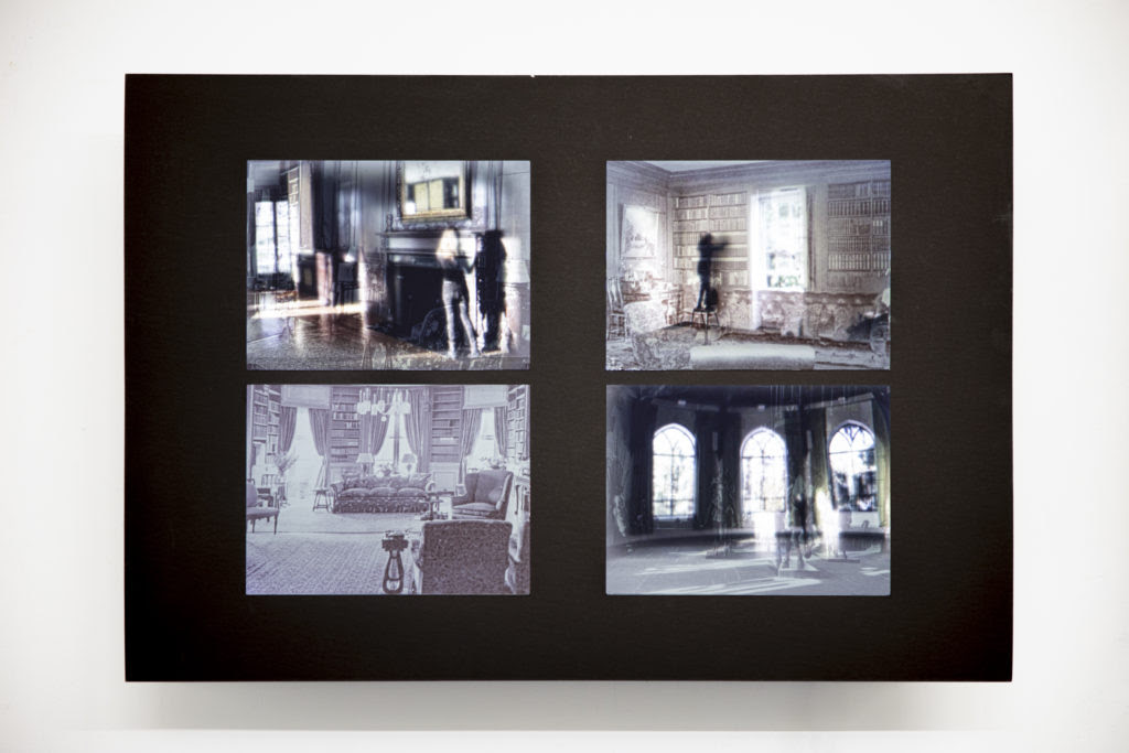 Dana Levy, Intrusions – A Ghost From The Future, 2014 – 2019, four photographic prints, matte frame ,monitor  single channel video