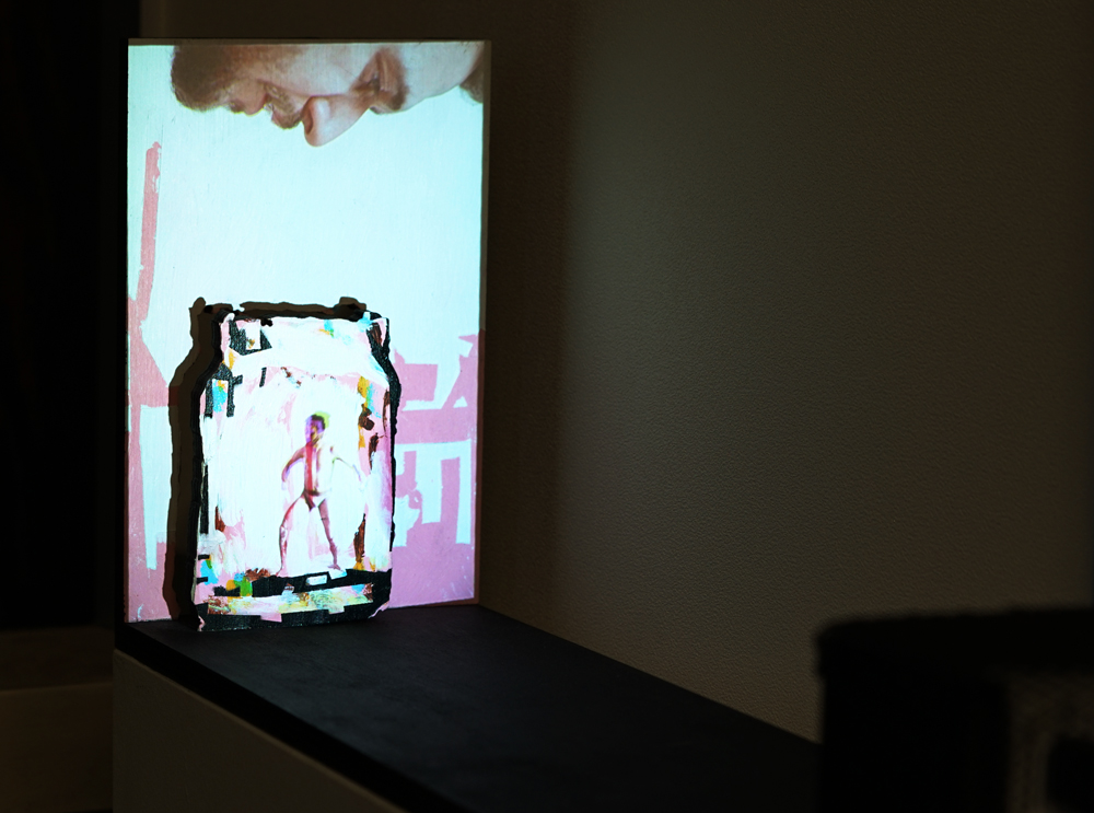 Roy Efrat, Jar, 2019, acrylic on plywood, Mini HD projector, single channel video with sound, 50 x 11.8 x 19 cm