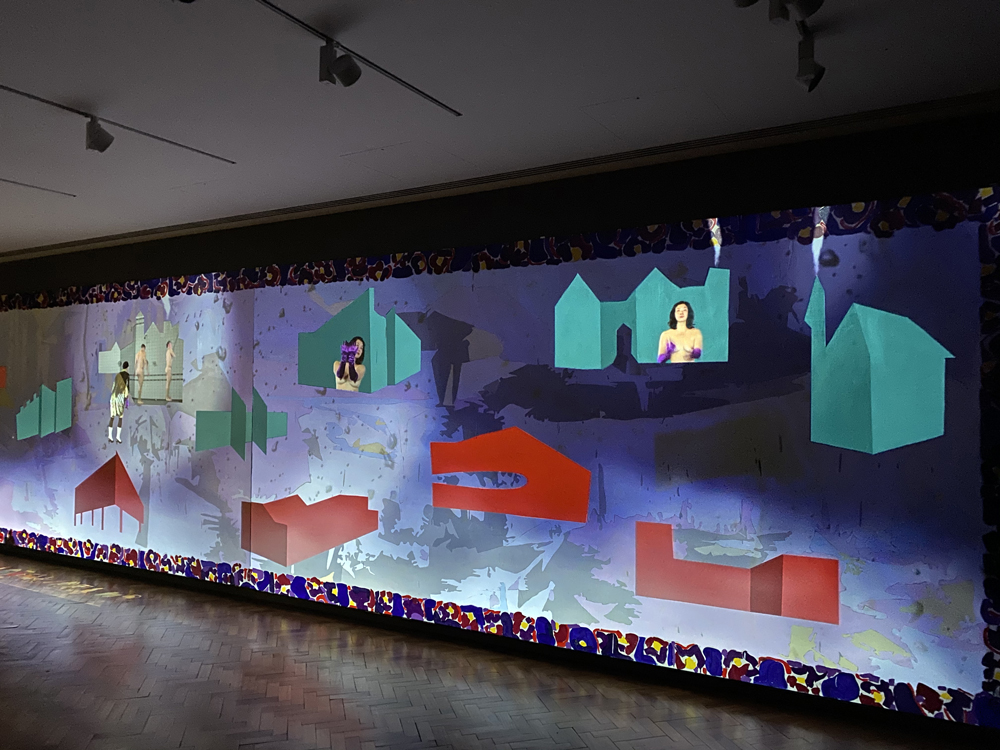 Roy Efrat and Catrin Webster, Pansy, 2020, video painting, diptych 2080 cm by 270 cm, 2 channel video projection and oil on canvas with sound, 12:07 min. loop