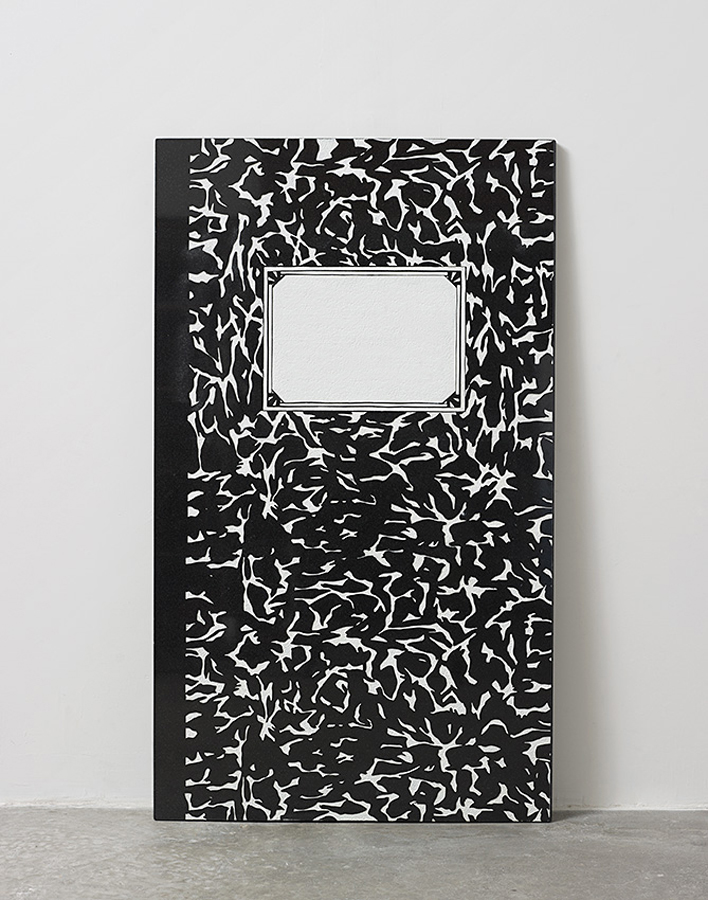 Assaf Shaham, Composition, 2015, sandblasted granite stone, white paint, 122 x 70 x 3 cm
