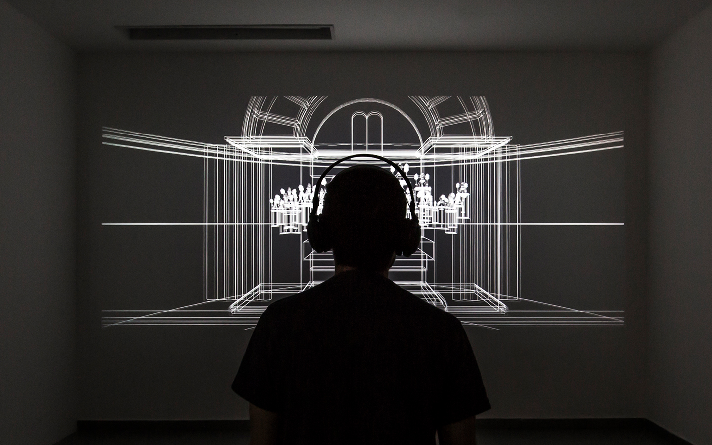 Dor Zlekha Levy, 'Model' from 'Shomer', 2019, HD Video with sound - synchronized to wireless headphones, 8:32 minutes. Installation view, Hamidrasha Gallery