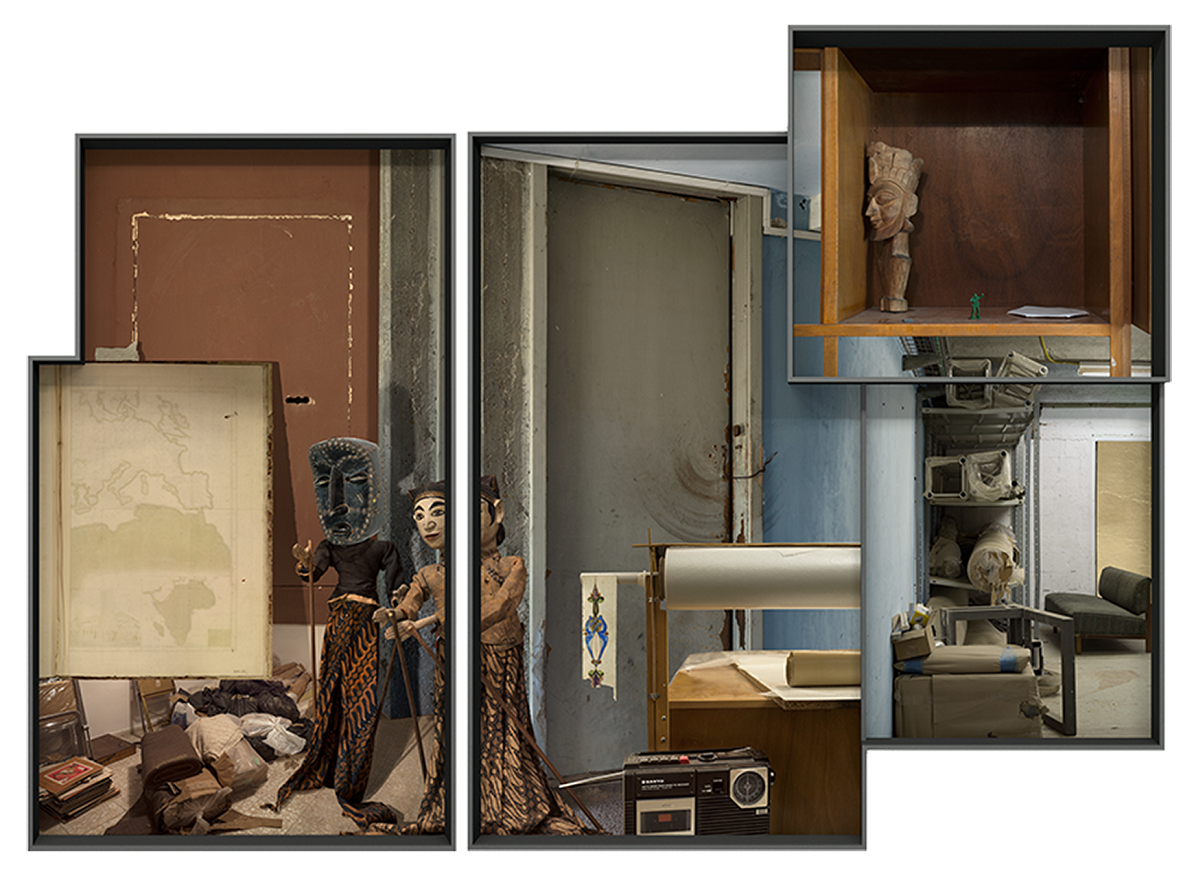 Ilit Azoulay, Vitrine no. 12+13: For unknown reason, the place they took, empty, 2017, inkjet print, gold leaves, 130 x 179 cm