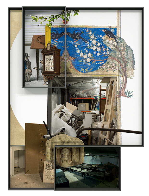 Ilit Azoulay, Vitrine no. 20: All sorts of sights went wrong like a great catastrophe in a glass storage, 2017, inkjet print, gold leaves, 157 x 121 cm