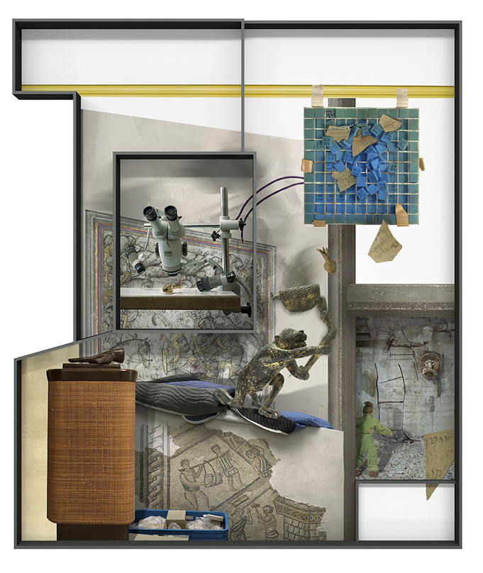 Ilit Azoulay, Vitrine no. 4: (Take, for instance, this) true story, 2017, inkjet print, gold leaves, 142 x 120 cm