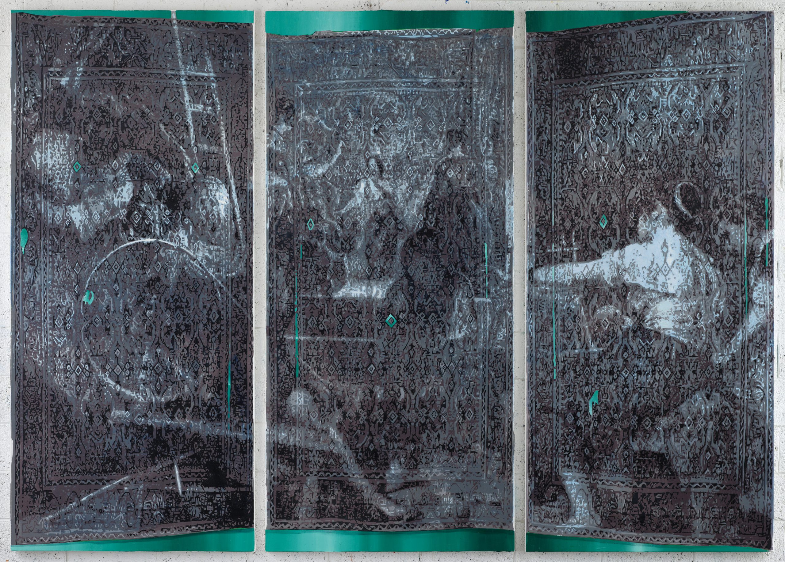 Oren ELiav, Loom 2018, oil on canvas, triptych, each part 240 x 110 cm