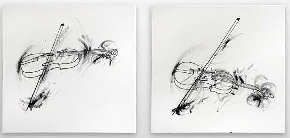 Robin_Rhode, Violins Quartet II, 2014, oil crayon on canvas, 83 x83 x 4 cm