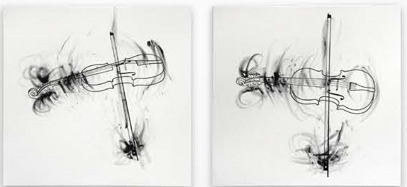 Robin_Rhode, Violins Quartet I, 2014, oil crayon on canvas, 83 x83 x 4 cm