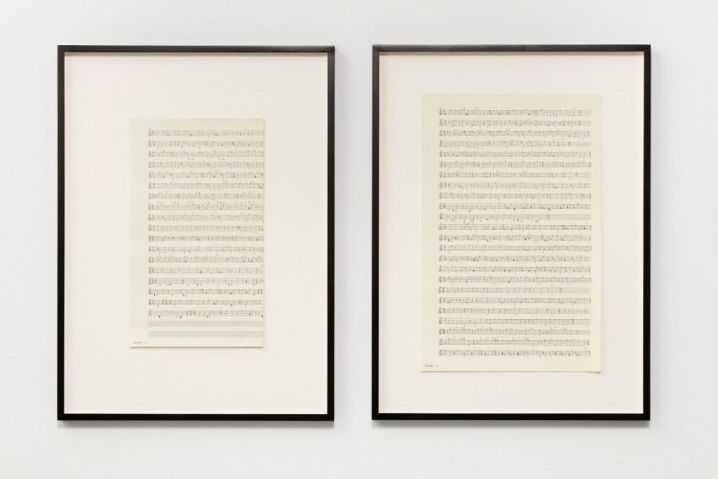 Ari Benjamin Meyers, Aztec 1.5, 2015, Handwritten score on found paper 43,2 x 28 cm each (motif), 2 parts 58,2 x 43 x 2,8 cm each (framed), 2 parts