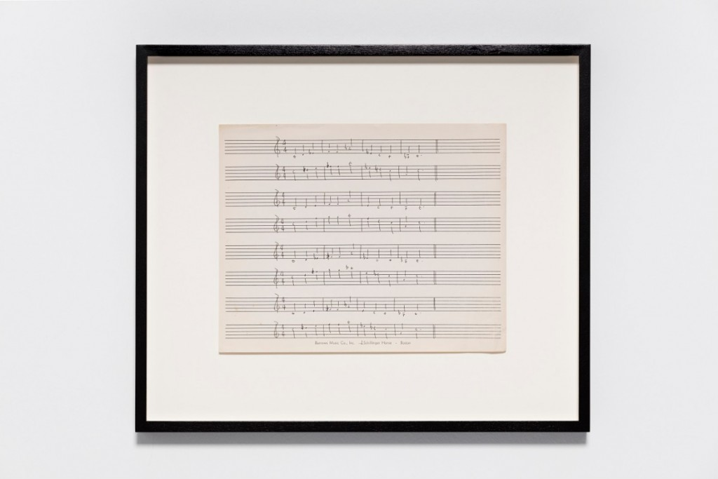 Ari Benjamin Meyers, J. Schillinger, 2015 Handwritten score on found paper 28 x 21,5 cm (motif) 43 x 36,5 x 2,8 cm (framed) Courtesy the artist and Esther
