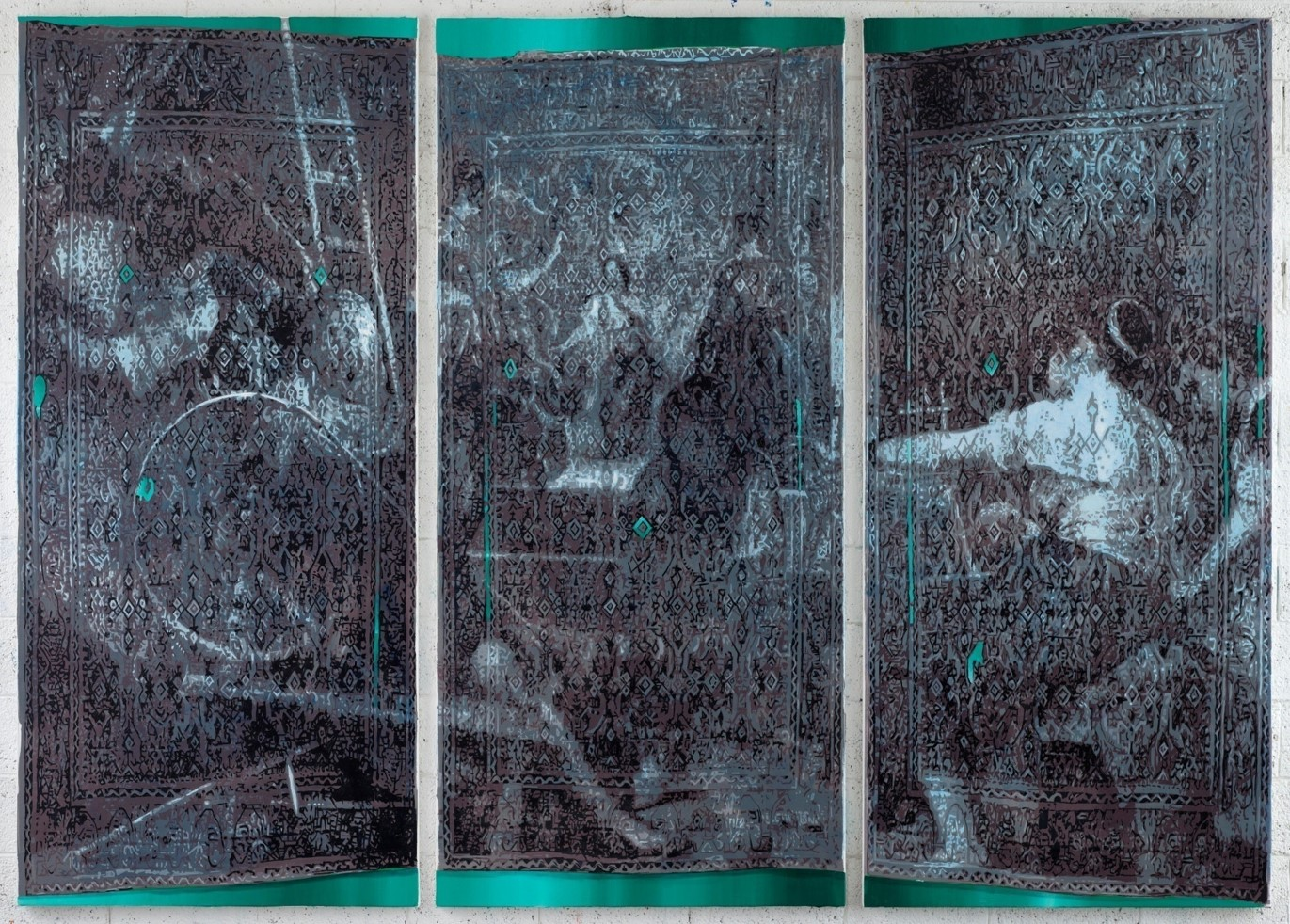 Oren Eliav, Loom, 2018, triptych, oil on canvas, 240 x 110 cm, each panel