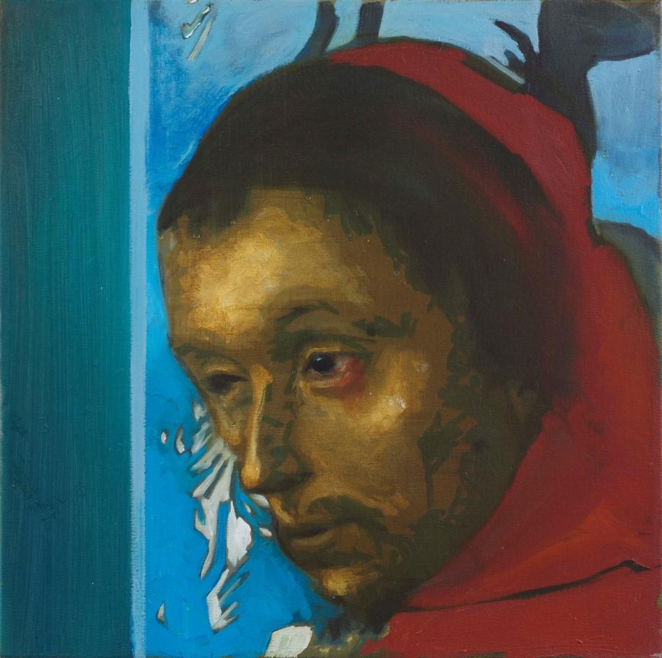 Oren Eliav, Listener, 2015, oil on canvas , 50x50 cm