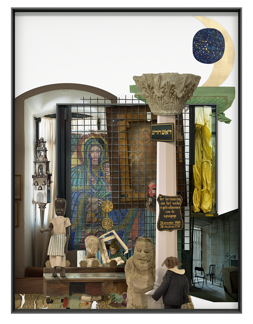 Ilit Azoulay, Vitrine no. 2: New head: when he made the wrong movement he didn't know what harmony he tore, 2017, inkjet print, gold leaves, 161 x 122 cm
