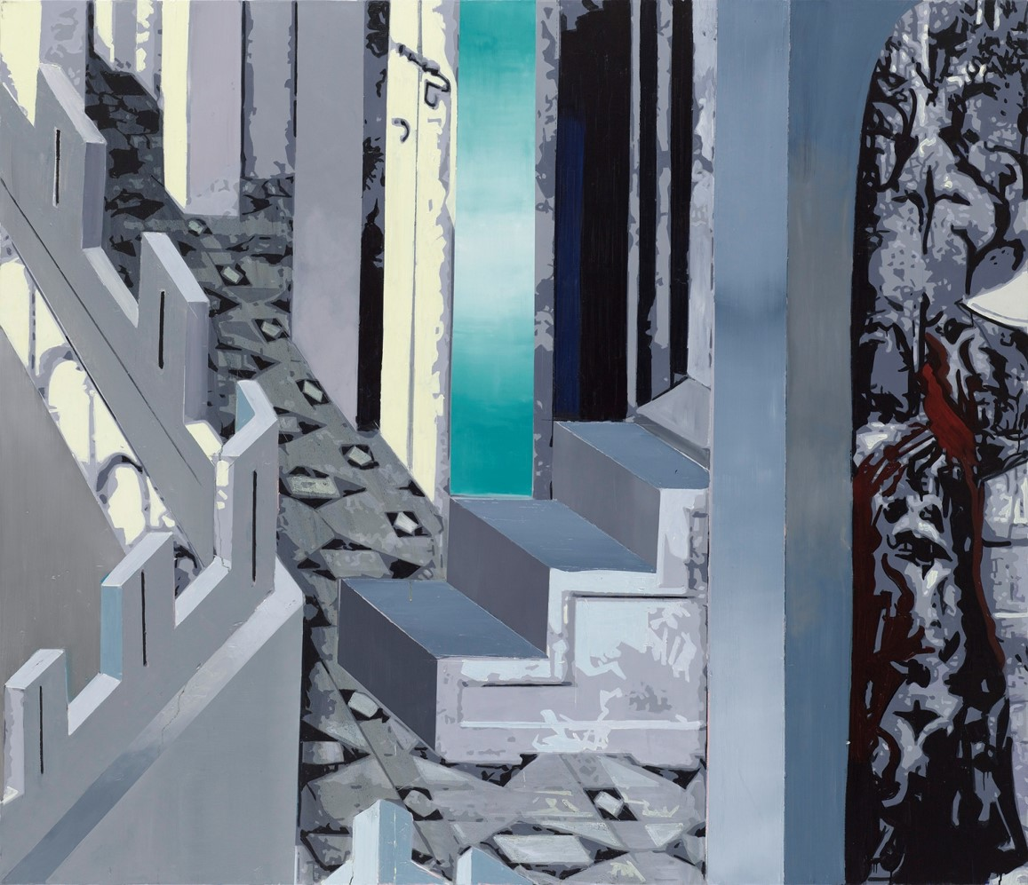 Oren Eliav, Descent, 2017, oil on canvas 200 x 230 cm