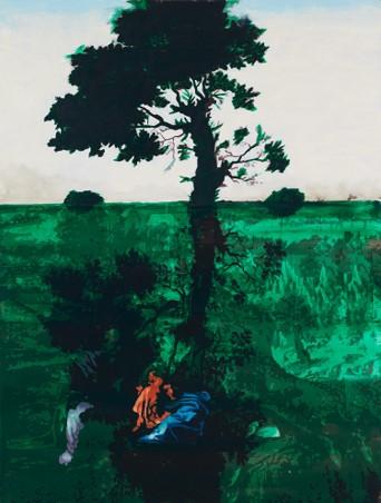 Oren Eliav, Rest on the flight into Egypt (Reflection), 2016, oil on canvas, 200 x 150 cm