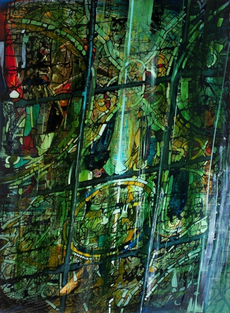 Oren Eliav, Stained glass, 2012, Oil on canvas, 270 x 200 cm