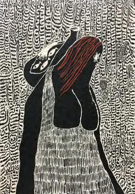 Summer Wheat, Breadwinner with Fish,  2018, Acrylic on aluminium mesh, 175 x 122 cm