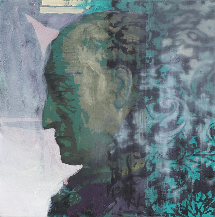 Oren Eliav, Listener, 2016, oil on canvas, 50 x 50 cm