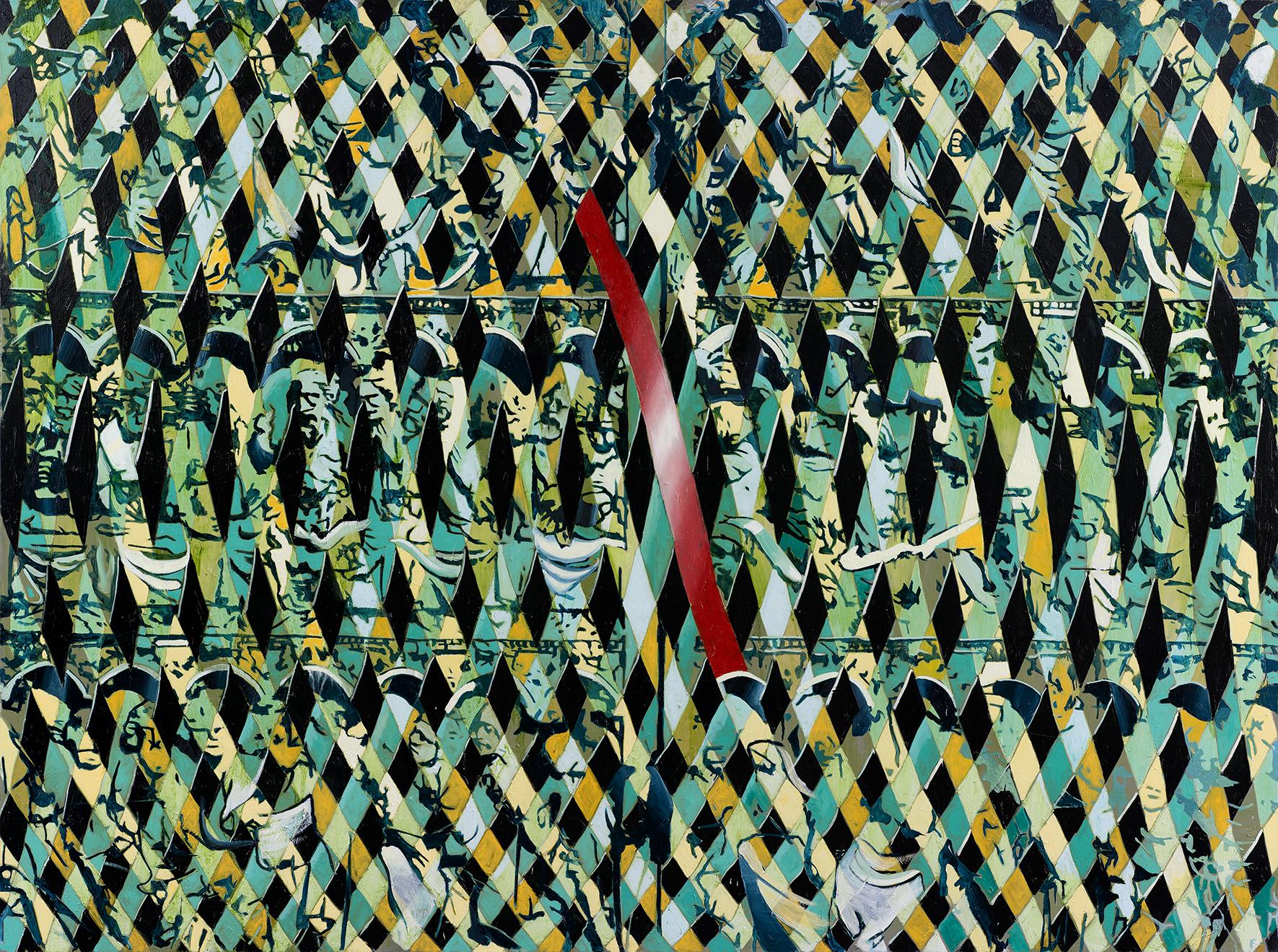 Oren Eliav, Procession, 2014, oil on canvas , 200 x 270 cm