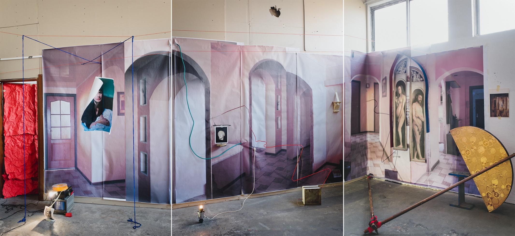 Mark Yashaev, Presque Vu, Déjà Vu, Jamais Vu, 2018, inkjet print, tryptich, 208 x 150 cm each panel