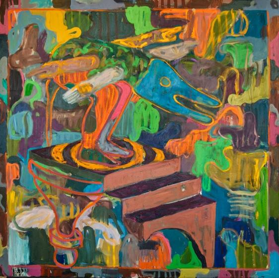 Gresham Tapiwa Nyaude May Flights of Fance, 2019, oil on canvas 210 x 210 cm