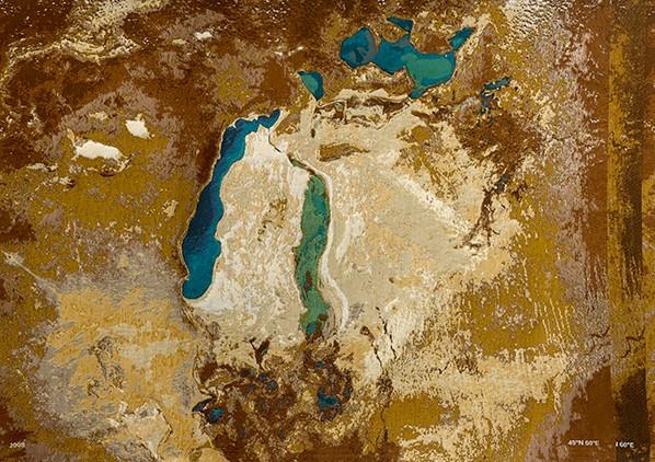 Aral Sea tapestry: sea-cotton-image, 2013, 26.5 x 162 inches (67 x 412 cm)