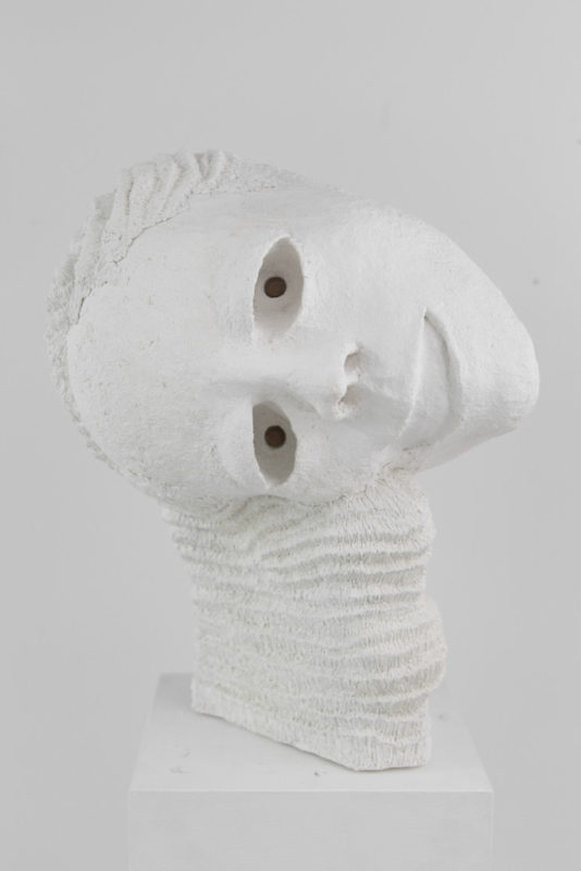 Tommy Hartung, White Devil #5, 2016, celluclay, varnish, and acorns, 48 x 29 x 34 cm