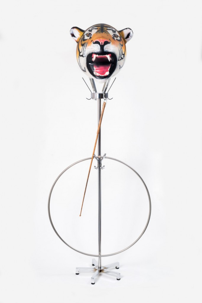 Creature of Habit 2017, airbrush painting on fibreglass cast, readymade wood and stainless steel hanger, 207 x 85 cm