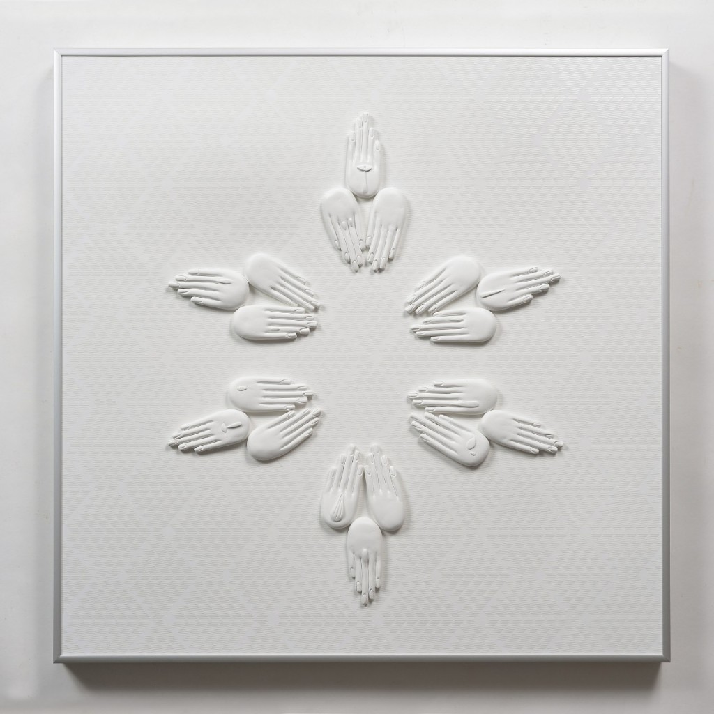 Liora Kaplan, Feather Bed #3, 2019, painted polyurethane relief over painted and printed wood, aluminium frame, 60 x 60 cm