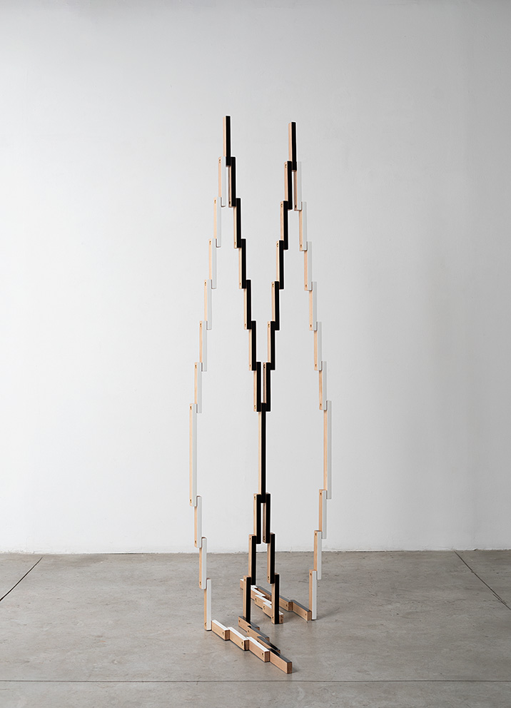 Reuven Israel, Untitled Folding Object 55B, 2018, oak, paint, and brass hardware