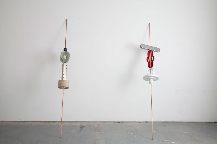 Reuven Israel, SBM5 & SBM6 (Stand by Me no. 5-6), 2013, Copper coated steel rod MDF and paints, dimensions variable