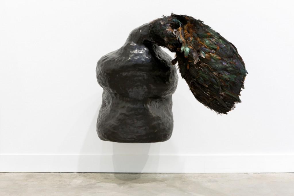 Solange Pessoa, Ão-Ão, 2017, bronze, fabric, and feathers, dimensions variable