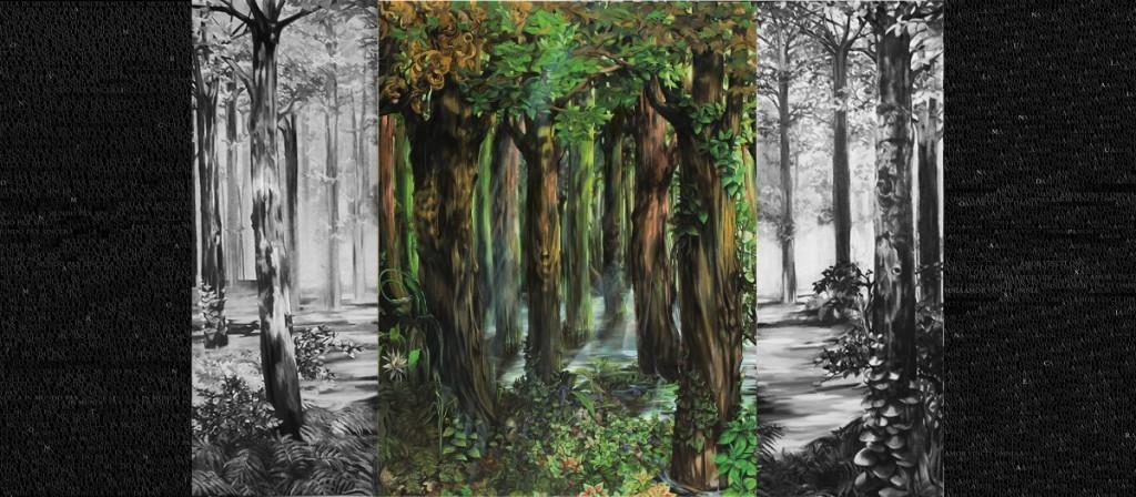 BIljana Djurdjevic, Dark Is The Forest (Polyptych-III), 2010 - 2012, 255 x 905 cm
