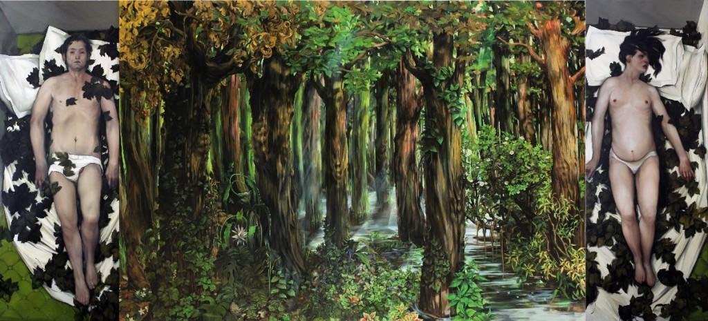 Biljana Djurdjevic, Dark is the Forest (open Polyptych), 2010-12, 255 x 905 cm