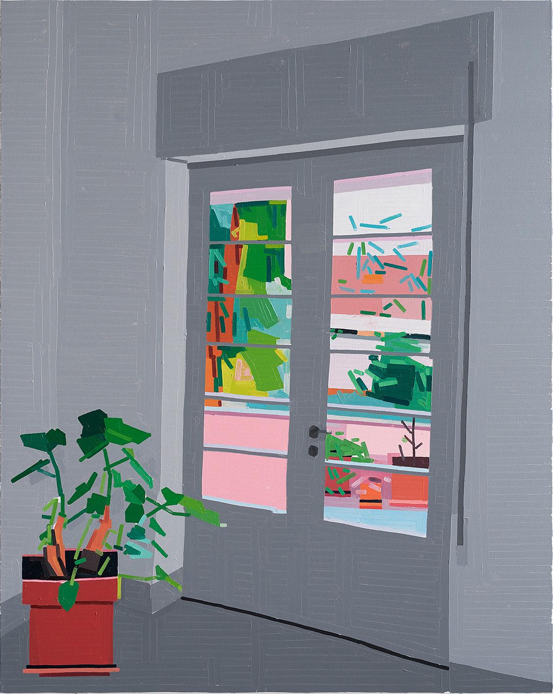Guy Yanai, Gilboa Balcony Door 2019, Oil on canvas 150 x 120 cm