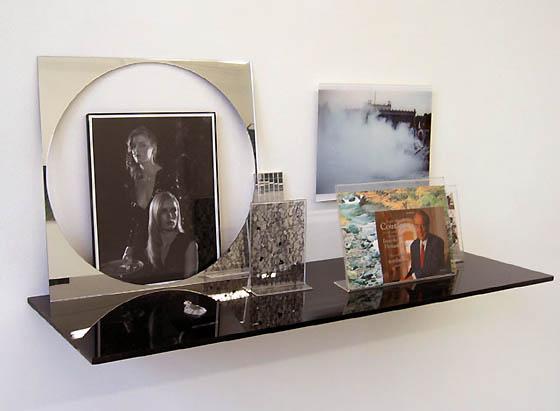 Josephine Meckseper, Shelf No. 20 (Bob Dole), 2005, Metal, mirror, wire,cardboard, found jewelry, fur 1.27 x 110 x 38 cm