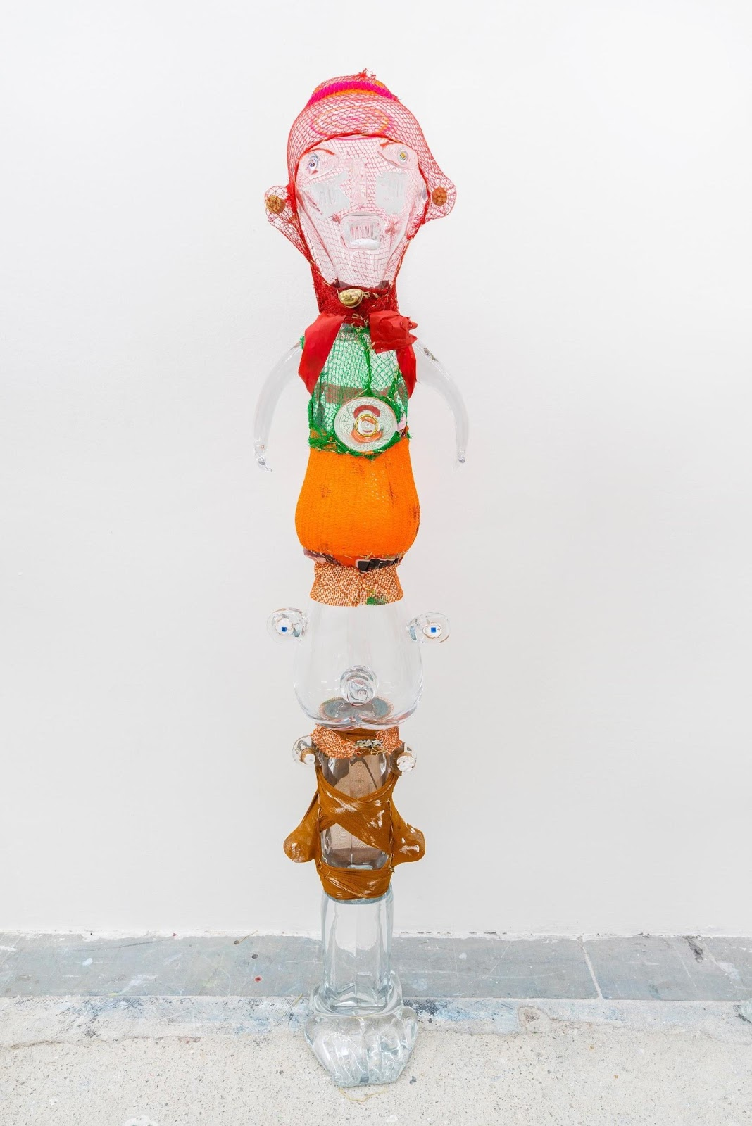 Pascale Marthine Tayou, Totem Cristal, 2019, crystal, mixed media , 170 x 40 x 38 cm