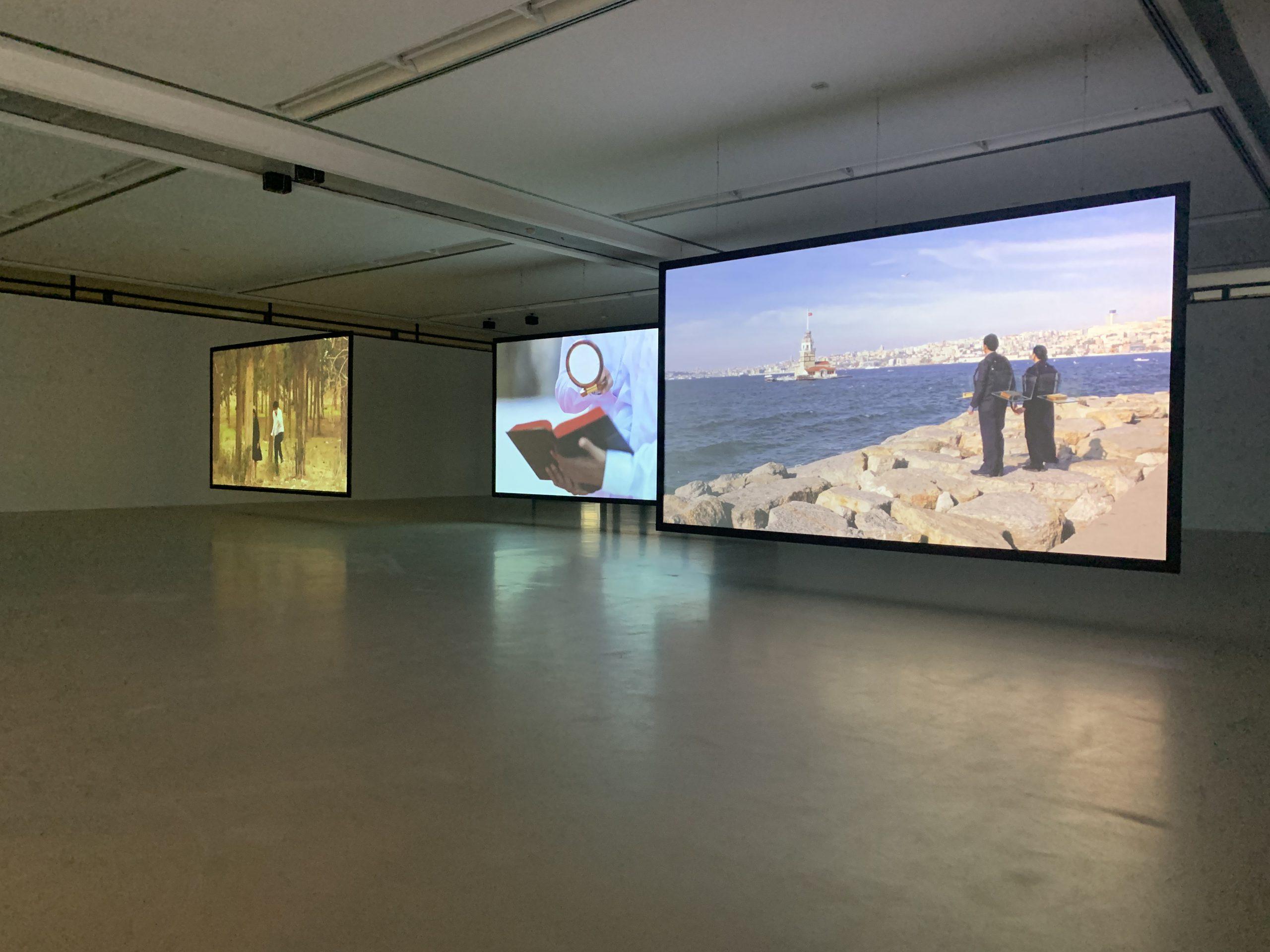 Nezaket Ekici and Shahar Marcus, Installation view, Nezaket Ekici and Shahar Marcus, TBQ, Städtische Galerie Nordhorn, Photos: Thomas Niemeyer, Nele, Nezaket Ekici, Camera: Thomas Niemeyer