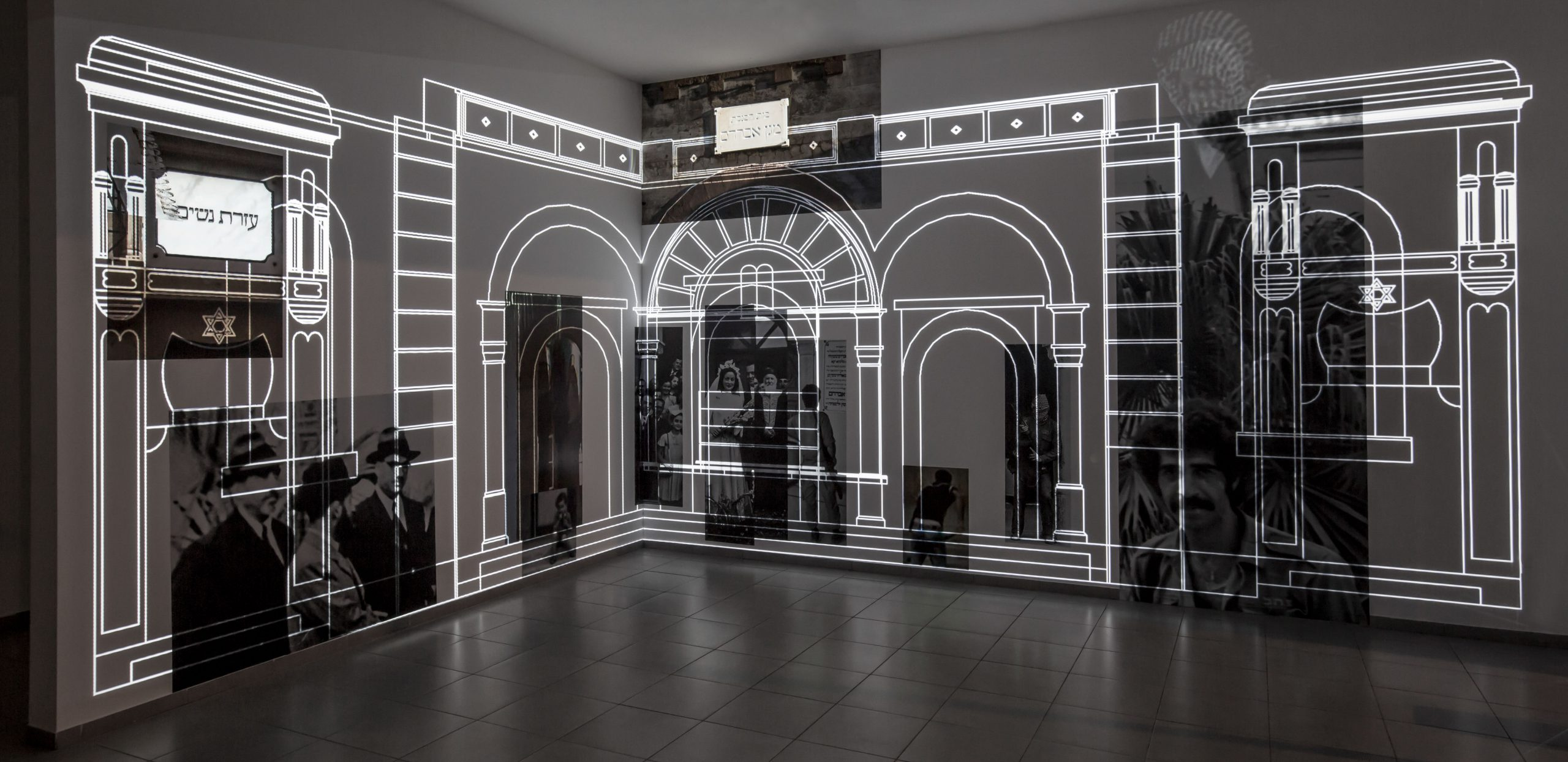 'Facade', Projection and print installation, Hamidrasha Gallery, 2019 (installation view) (installation view)