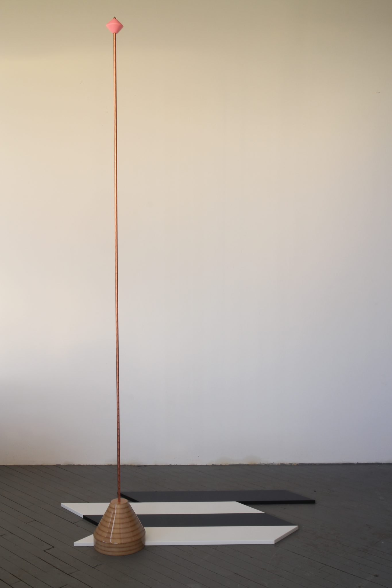 Reuven Israel, Formula 2, 2016, Copper coated steel rod and painted MDF, 244 x 140 x 96 cm