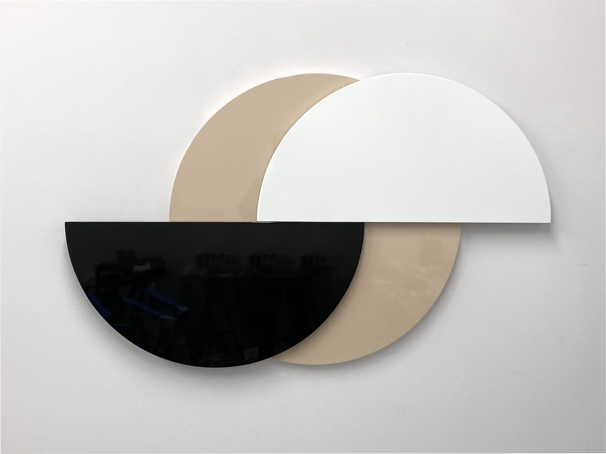 Half Moon (Beige), 3-part painted MDF and hardware, 88 x 11.5 x 5.7 cm