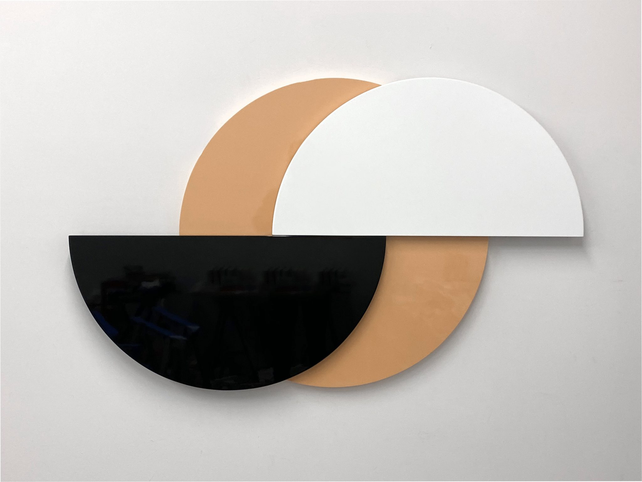 Half Moon (Desert), 3-part painted MDF and hardware, 88 x 11.5 x 5.7 cm