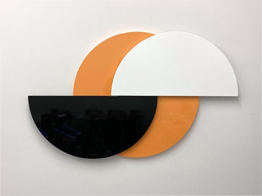Half Moon (Orange), 3-part painted MDF and hardware, 88 x 11.5 x 5.7 cm