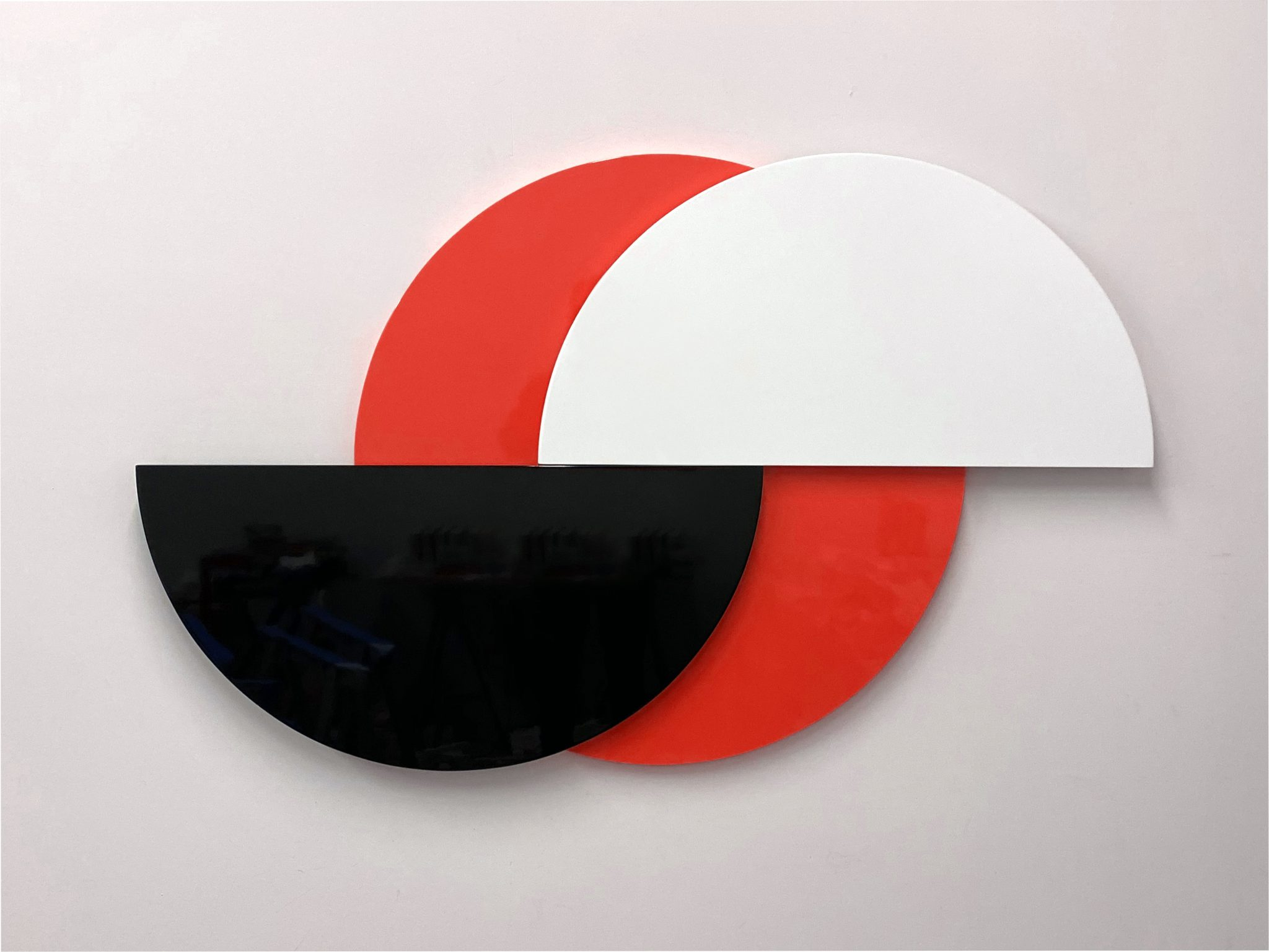Half Moon (Red), 3-part painted MDF and hardware, 88 x 11.5 x 5.7 cm