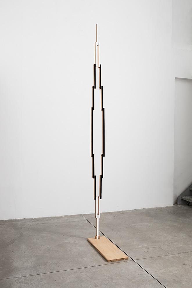 Reuven Israel, Untitled Folding Object 17A, 2018, oak, paint, and brass hardware