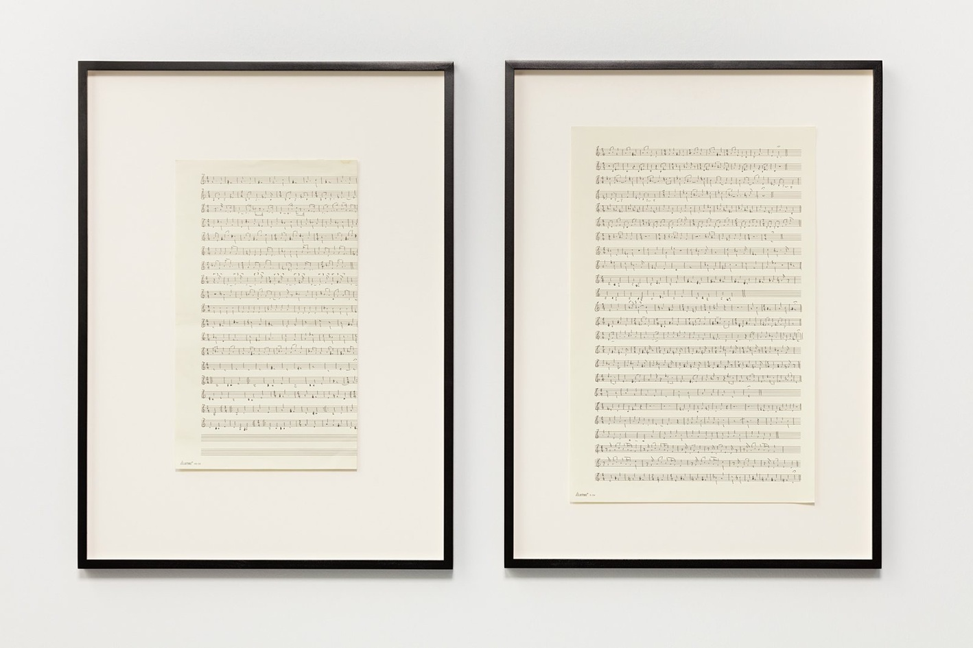 Ari benjamin Meyers, Aztec 1.5, 2015, handwritten score on found paper, 43.2x28 cm each (motif), 2 parts. 58.2x43x2.8 cm each (framed)