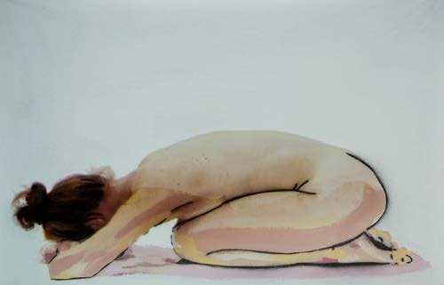 Roy Efrat, Back #2, 2014, acrylic nd spray on cotton with video and sound projectio, 68x88 cm, 1.00 min